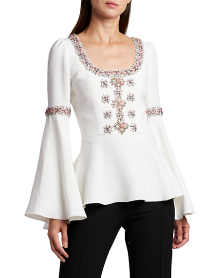 Andrew Gn Scoop-Neck Flare-Sleeve Blouse