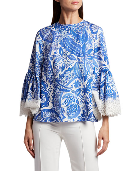 Andrew Gn Flare-Sleeve Embroidered Blouse