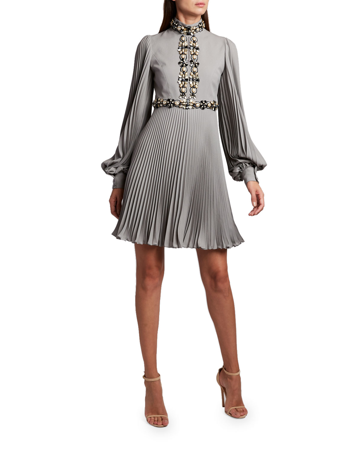 Andrew Gn High-Neck Puff-Sleeve Dress
