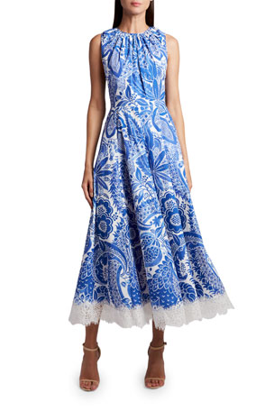 Andrew Gn Embroidered Floral-Edge Dress $2065.00