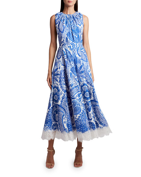 Andrew Gn Embroidered Floral-Edge Dress