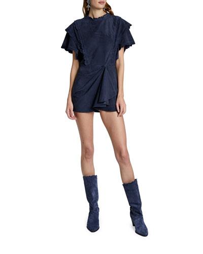 Suede Ruffled Mini Dress