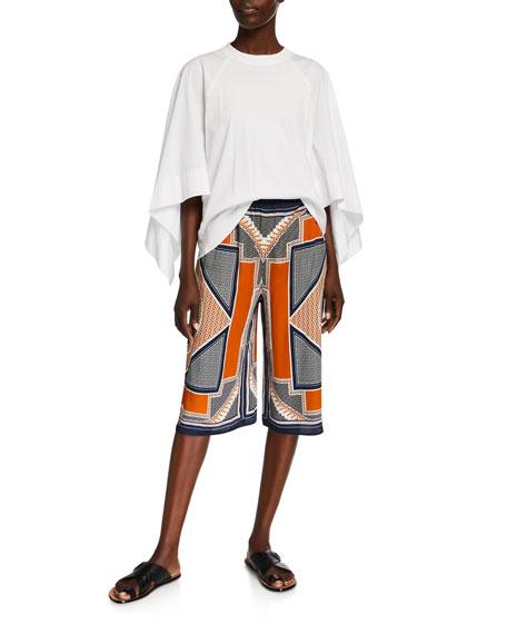 Rosetta Getty Scarf-Print Drawstring Shorts