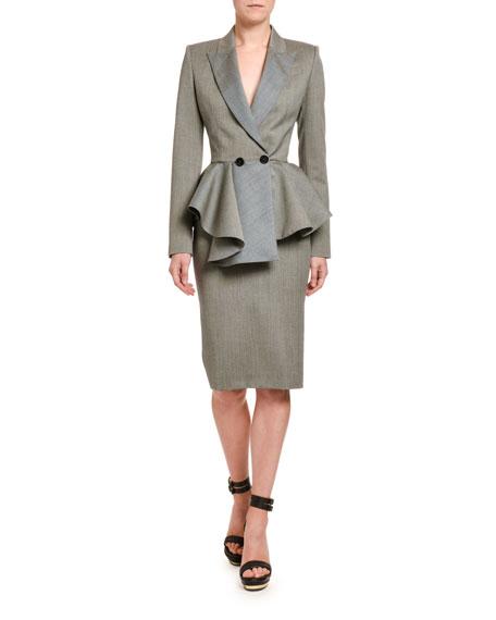 Alexander McQueen Wool Sharkskin Peplum Jacket