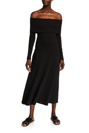 Rosetta Getty Off-the-Shoulder Cotton T-Shirt Dress