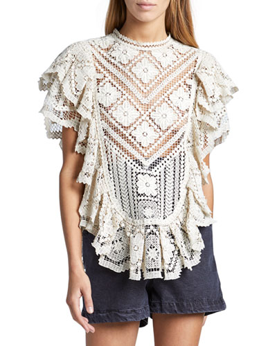 Embroidered Lace Ruffle Short-Sleeve High-Neck Top