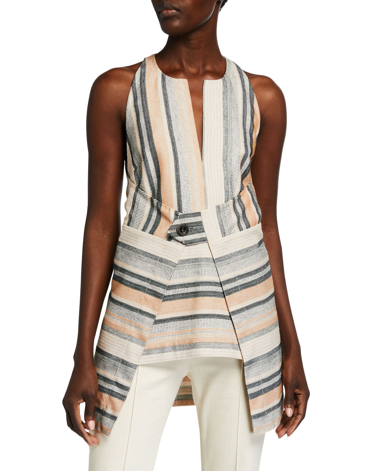 Rosetta Getty Striped Barre Jacquard Apron Top
