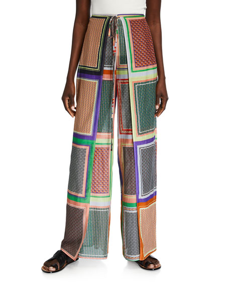 Rosetta Getty Scarf-Print Crepe Apron-Wrapped Pants