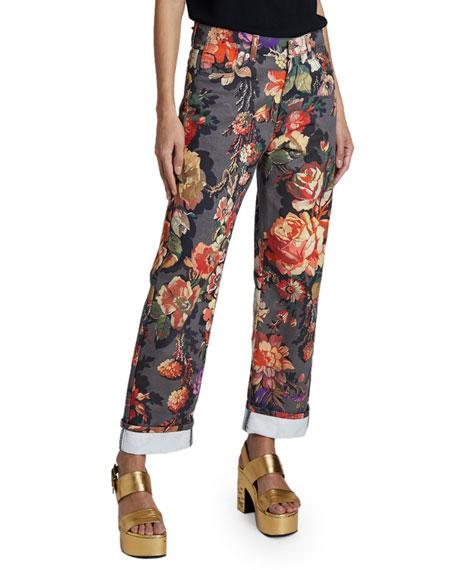 Dries Van Noten Piscos Cotton Floral Trousers