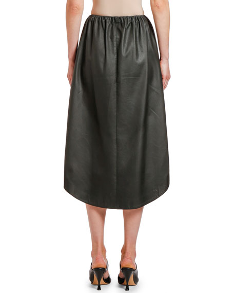 Bottega Veneta Leather Midi Skirt
