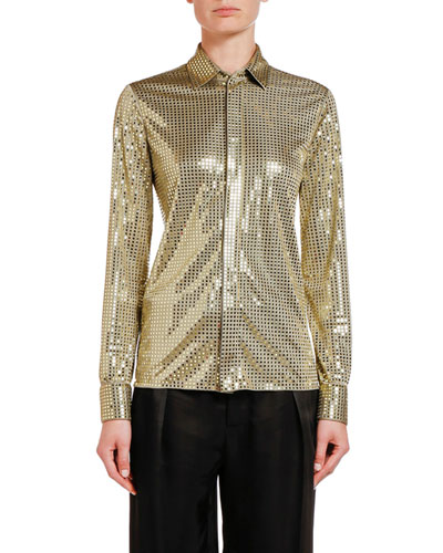 Sequined Button Front Shirt