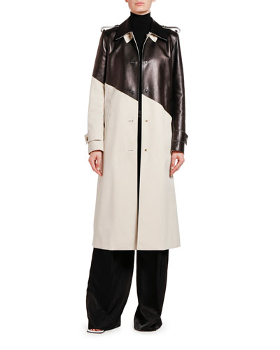 Asymmetric Colorblocked Trench Coat