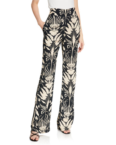 Final Contemplation Abstract Print Full-Leg Pants