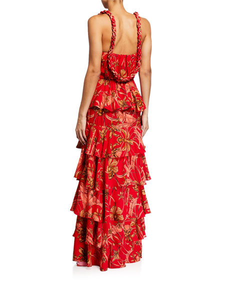 Johanna Ortiz Life Goals Tropical Tiered Maxi Dress