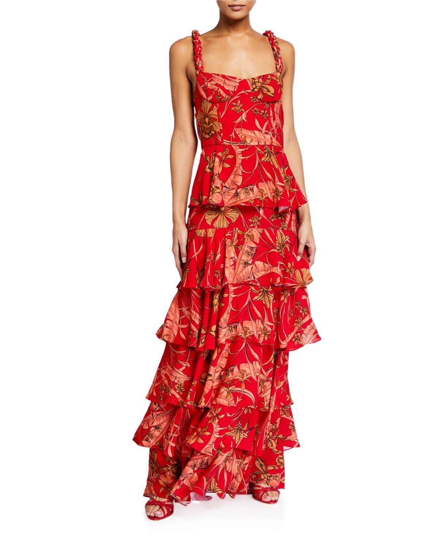 Johanna Ortiz Life Goals Tropical Tiered Maxi Dress