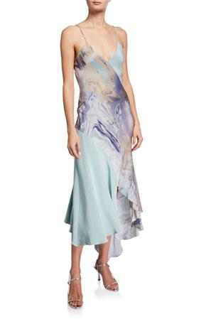 CUSHNIE Asymmetric V-Neck Slip Dress