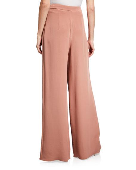 CUSHNIE Silk High-Rise Wide Leg Pants