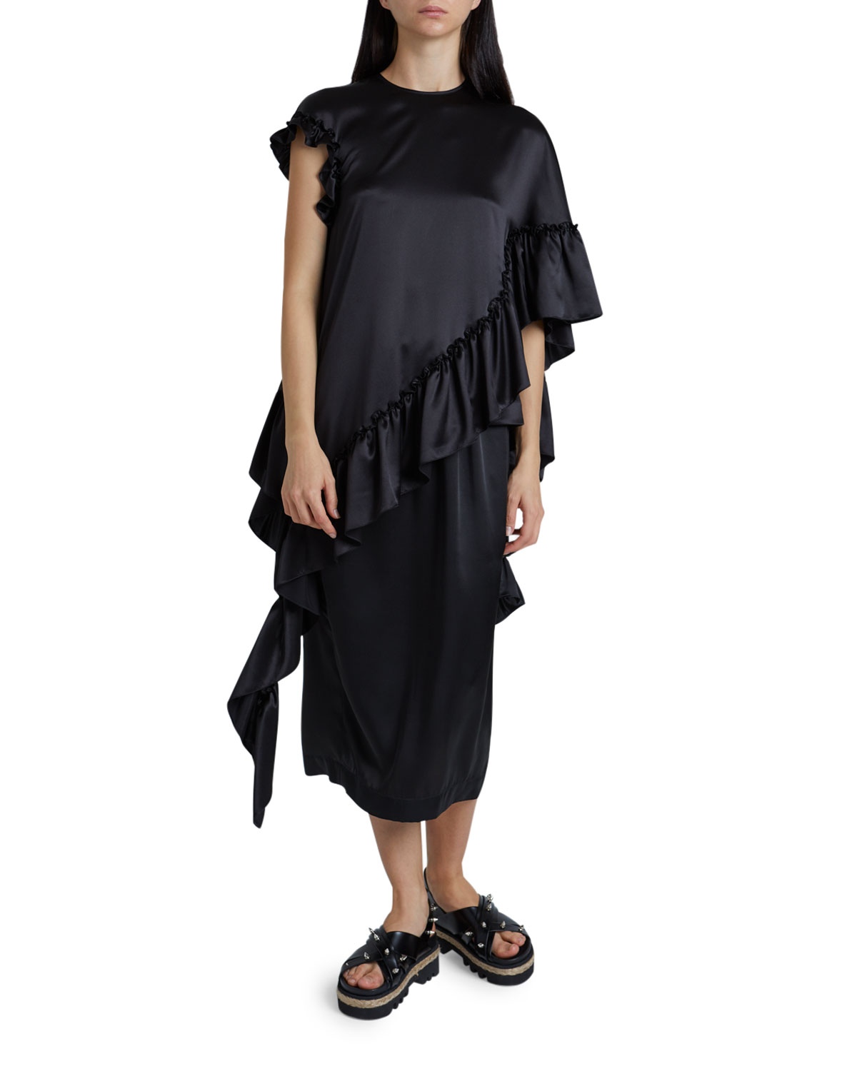 Simone Rocha Long Drape Asymmetrical Satin Frill Top