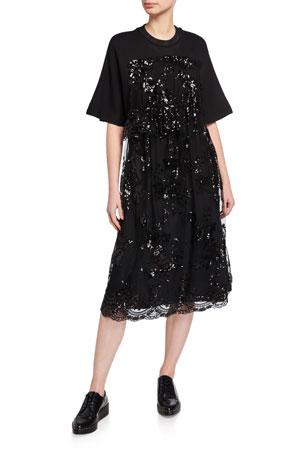 Simone Rocha Sequined Apron-Front A-Line Dress
