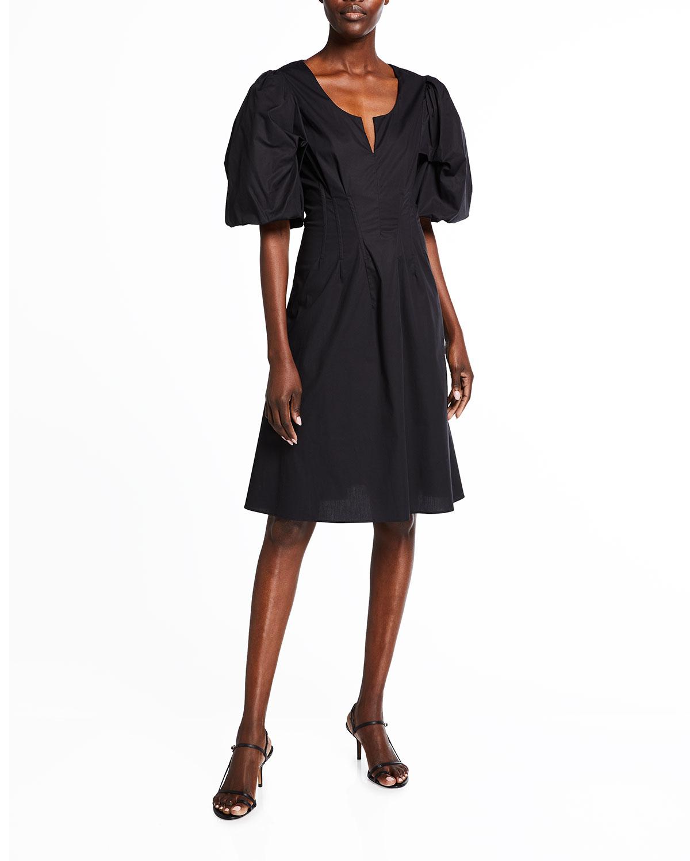 Brock Collection Queeneste Poplin Puff-Sleeve Dress