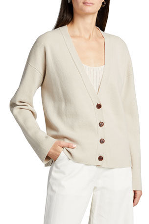 Co Wool-Blend Button-Front Cardigan