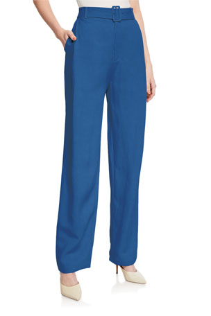 Co Belted Wide-Leg Pants