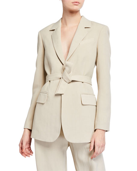 Image 2 of 3: Co Lightweight Twill Tie-Waist Blazer Jacket