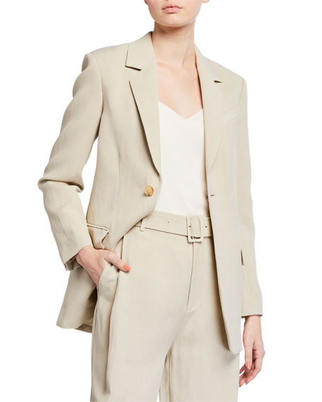 Image 1 of 3: Co Lightweight Twill Tie-Waist Blazer Jacket