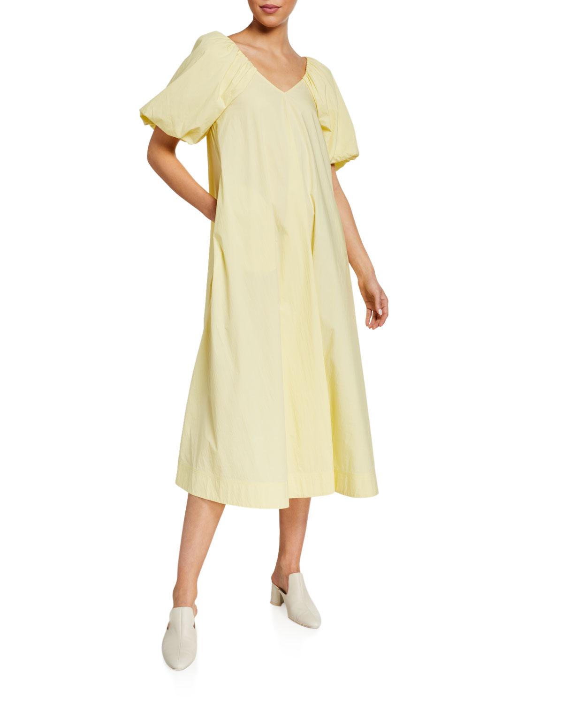 Co V-Neck Puff-Sleeve A-Line Midi Dress
