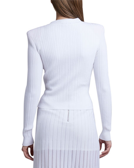 Balmain Pleated Knit Cardigan with Silver Buttons