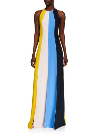 Lela Rose Multi-Stripe Fluid Crepe Seamed Halter Gown $2890.00