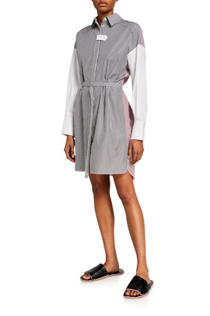 Partow Helena Pinstriped Shirtdress