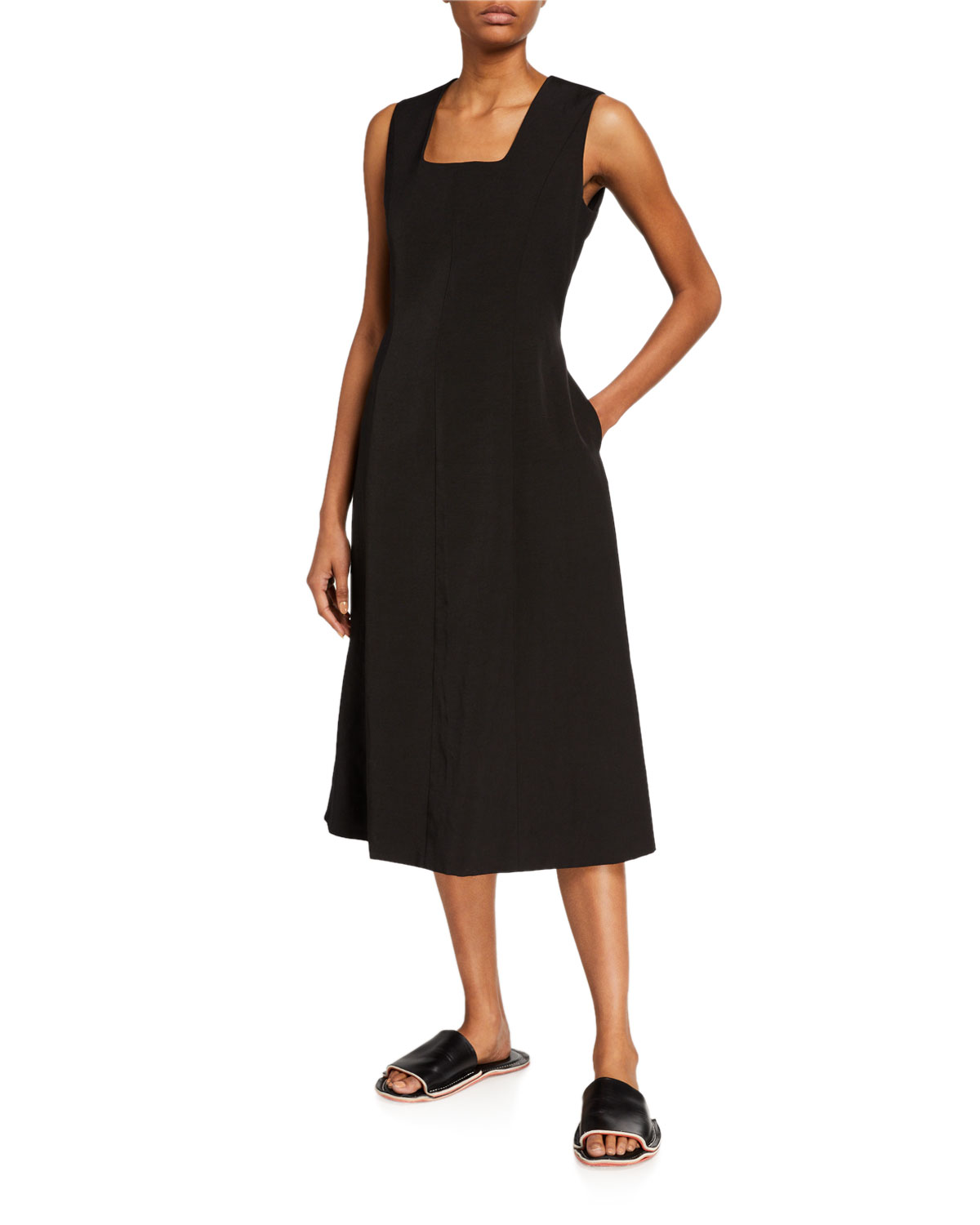 Partow Linen Square-Neck Midi Dress