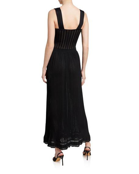ALAIA Flabalas Square-Neck Pleated Maxi Dress