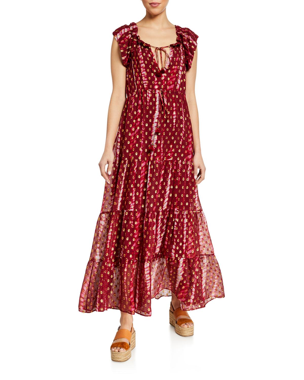 Figue Gianna Metallic Chiffon Tiered Dress