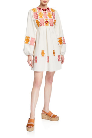 Figue Lucie Embroidered Mini Peasant Dress