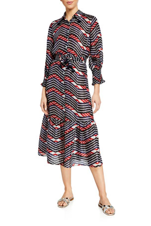 Figue Indiana Stripe Tie-Waist Shirtdress