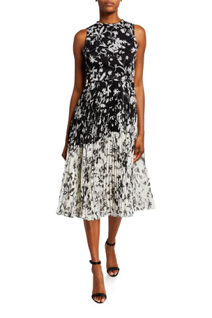 Jason Wu Collection Floral Crinkle Chiffon Dress