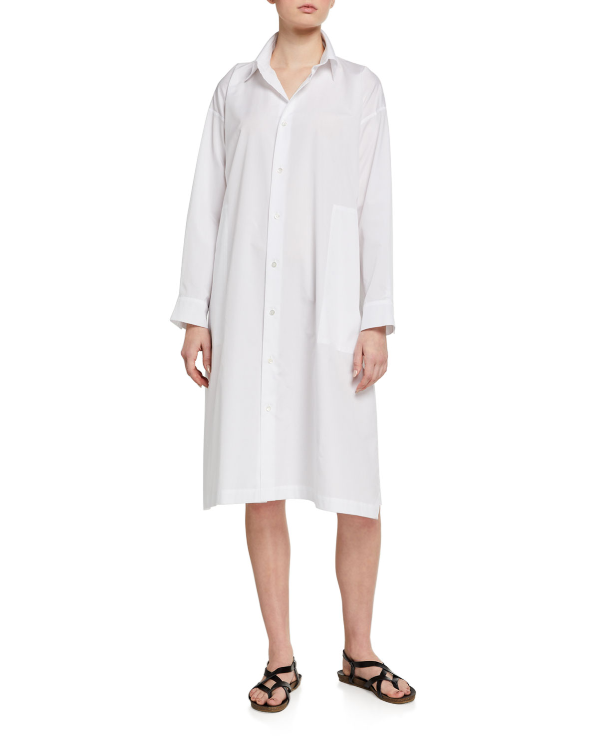 Eskandar Poplin A-Line Shirtdress