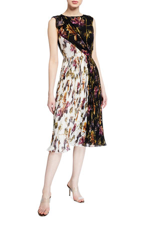 Jason Wu Collection Floral-Print Crinkled Chiffon Dress