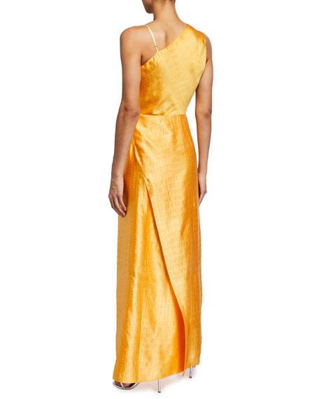 Sies Marjan Paloma Embossed Satin Asymmetric Gown