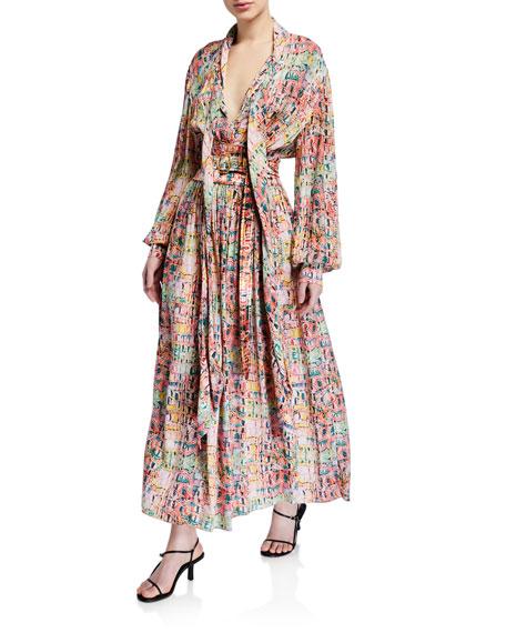 Sies Marjan Faye Crocodile-Print Crepe Full Dress