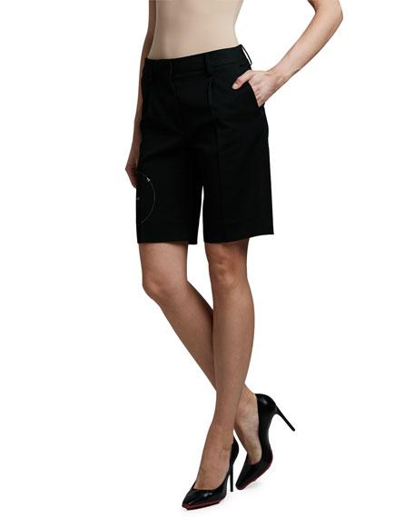 Off-White Gabardine Formal Shorts