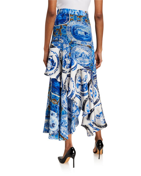Image 2 of 3: Libertine Mixed Print Asymmetrical Flounce Skirt