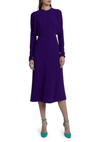 Victoria Beckham Crewneck Long-Sleeve Midi Cady Dress