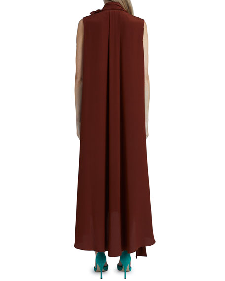 Victoria Beckham Scarf-Neck Sleeveless Crepe De Chine Silk Dress