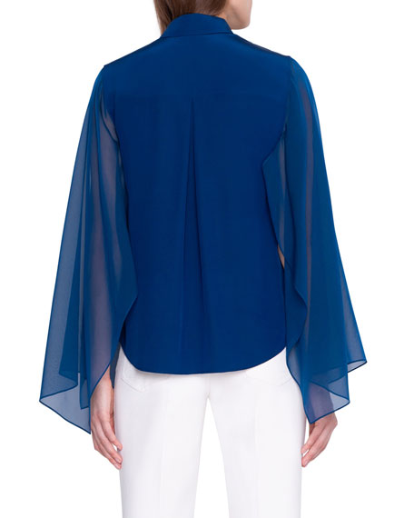 Image 2 of 2: Akris Button-Front Blouse with Flutter Sleeve