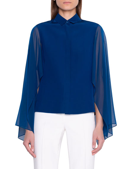 Image 1 of 2: Akris Button-Front Blouse with Flutter Sleeve