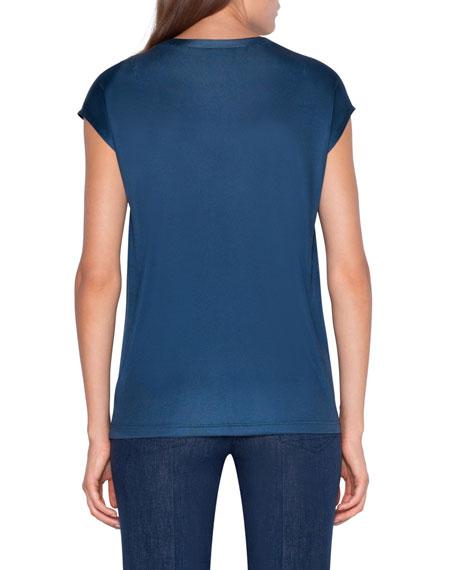 Akris Striped Jersey Cap Sleeve T-Shirt