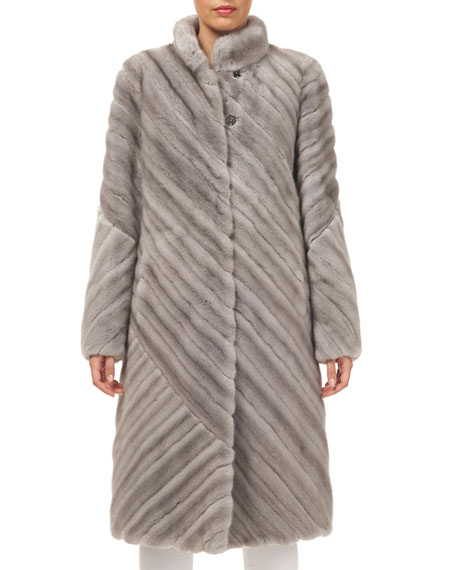 Gorski Stand-Collar Diagonal Mink Coat